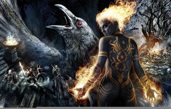 Картинка девушка, огонь, магия, мрак, татуировка, fire, girl, magic, мечи, ворон, воины, скелеты, raven, tattoo, game …