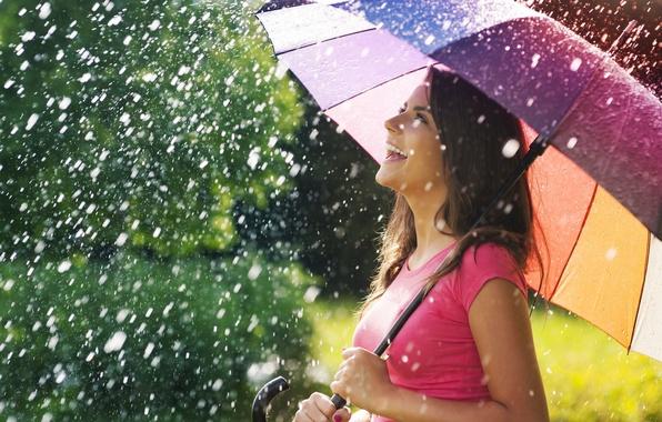Картинка лето, девушка, радость, счастье, улыбка, зонтик, фон, дождь, widescreen, обои, настроения, позитив, зонт, брюнетка, wallpaper, …