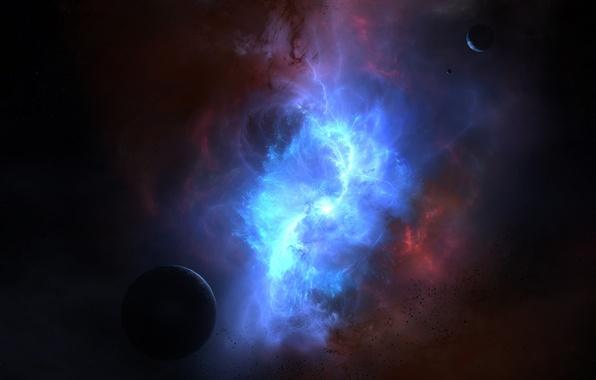 Картинка цвета, космос, туманность, планеты, свечение, астероиды