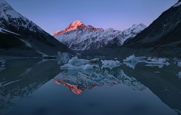 Картинка свет, отражения, горы, озеро, лёд, Новая Зеландия, пики, остров Южный, Южные Альпы, высочайшая точка Новой …