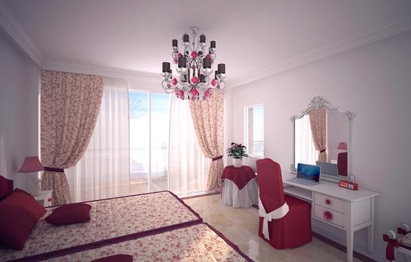 Картинка дизайн, комната, кровать, зеркало, окно, стул, люстра, ноутбук, шторы, спальня