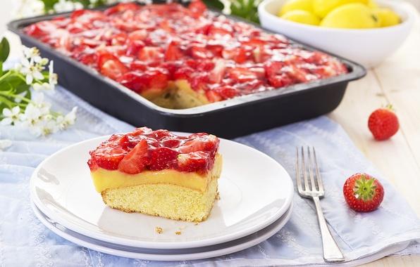 Картинка ягоды, клубника, пирог, выпечка, Strawberry, сладкое, вкусно, dessert, berries, Sweet, Cakes