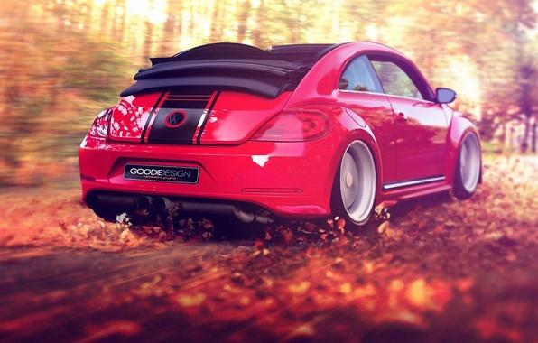 Картинка осень, лес, листья, красный, ветер, листва, скорость, жук, volkswagen, кабриолет, beetle