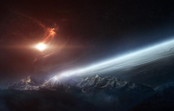 Картинка звезды, облака, поверхность, свет, горы, планета, атмосфера, nebula
