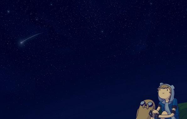 Картинка Небо, Звезды, Sky, Space, Джейк, Мультфильм, Jake, Adventure Time, Фин, Время Приключений, Cartoon, Finn