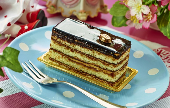 Картинка шоколад, торт, слои, десерт, глазурь