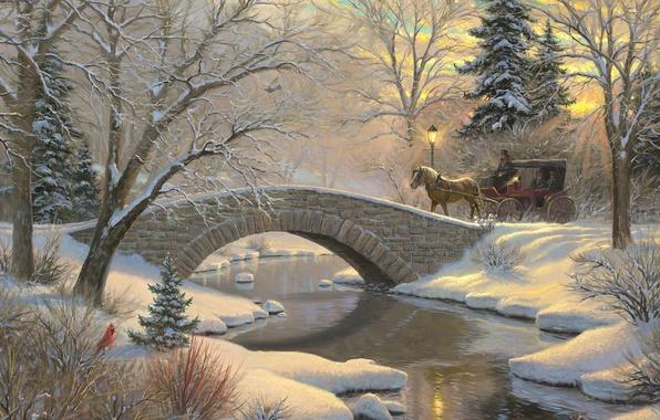 Картинка зима, лес, снег, закат, мост, река, птица, лошадь, елка, ели, фонарь, карета, forest, живопись, ёлочка, …