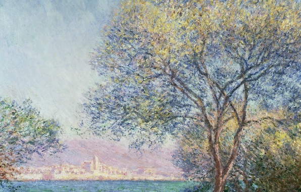 Картинка пейзаж, город, дерево, картина, Клод Моне, Антиб Утром