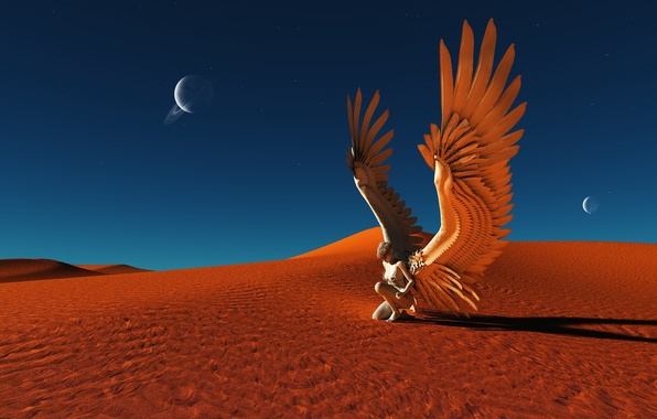 Картинка песок, небо, девушка, звезды, фантастика, пустыня, планеты, крылья, тень, ангел, арт, синее