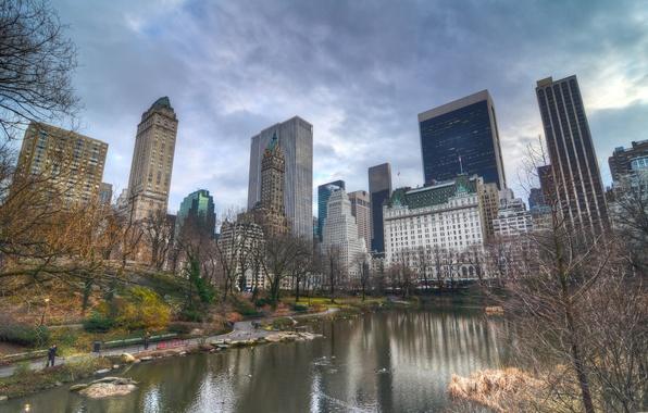 Картинка осень, город, парк, здания, Нью-Йорк, небоскребы, USA, США, мегаполис, NYC, New York City