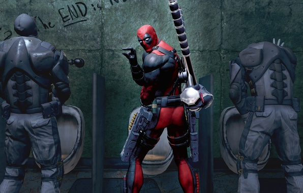 Картинка оружие, Marvel, Дэдпул, Wade Wilson, Deadpool: The Game, toilet, антигерой