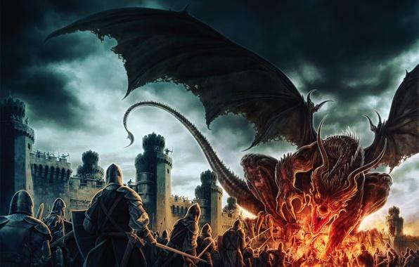 Картинка пламя, дракон, доспехи, битва, крепость, Арт, воины, by Koveck