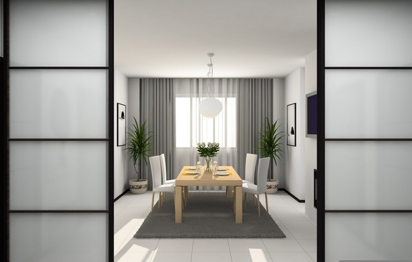 Картинка дизайн, стиль, комната, ковер, мебель, интерьер, телевизор, стул, тарелки, ваза, квартира, растения. цветы