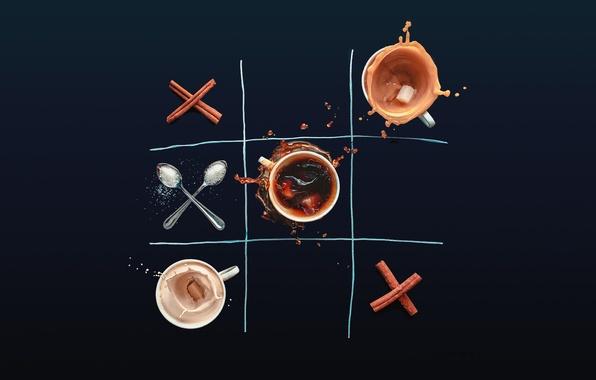 Картинка игра, кофе, чашки, сахар, корица, нолики, крестики, ложки, Dina Belenko