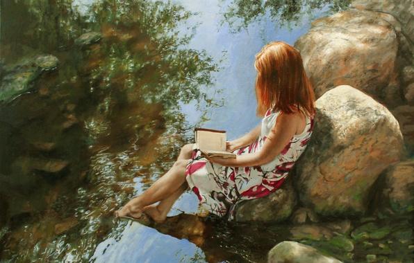 Картинка девушка, камни, платье, книга, речка, живопись, читает, Ralf Heynen