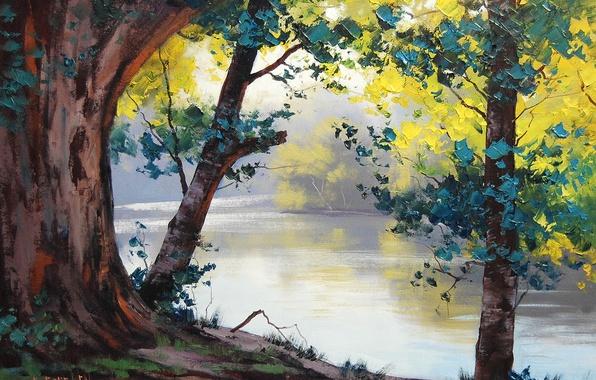 Картинка деревья, природа, река, листва, арт, artsaus