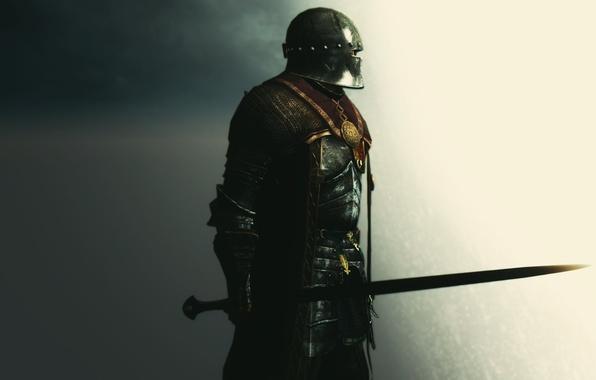 Картинка рендеринг, фон, меч, доспехи, воин