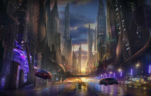 Картинка дорога, закат, машины, город, будущее, фантастика, небоскребы, вечер, арт, мегаполис