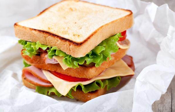 Картинка листья, еда, сыр, хлеб, бутерброд, помидоры, салат, тосты, ветчина
