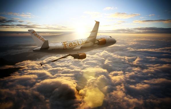 Картинка Солнце, Небо, Облака, Самолет, Авиация, Airbus, Авиалайнер, A300, Airline Fastjet