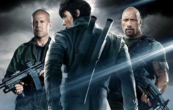 Фото обои Брюс Уиллис, Bruce Willis, Дуэйн Джонсон, Dwayne Johnson, Roadblock, G.I. Joe: Retaliation, G.I. Joe: Бросок ...