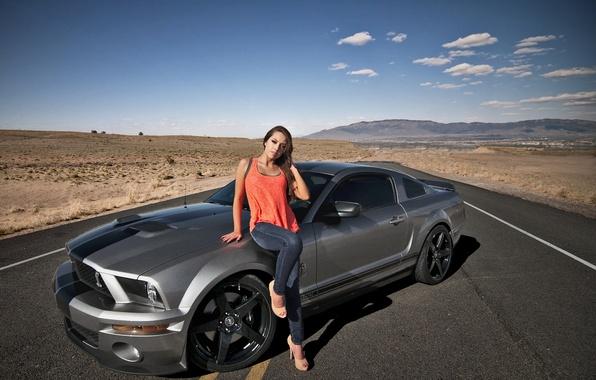 Картинка дорога, девушка, пустыня, Shelby, GT500, Ford Mustang
