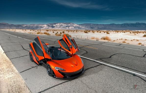 Картинка McLaren, Orange, Front, Hybrid, Death, Sand, Supercar, Valley, Hypercar, Exotic, Volcano, Doors