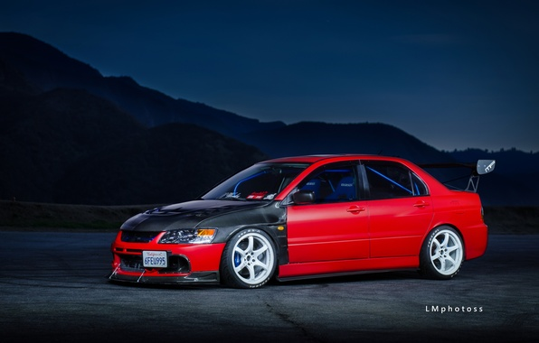 Фото обои Mitsubishi, Red, Lancer, Evolution 9, Tuning, Wheels, Spoiler
