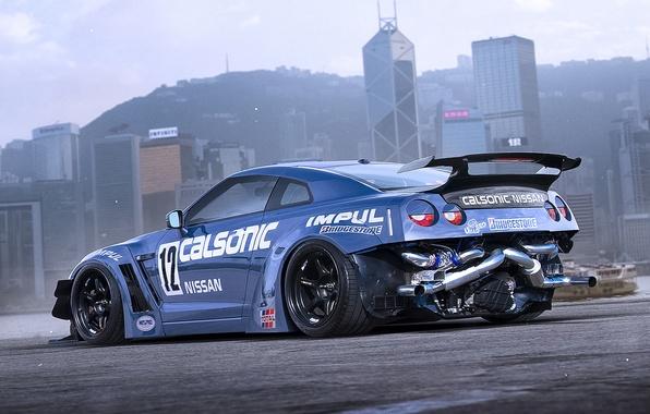Картинка Nissan, GT-R, Car, Blue, Sport, by Khyzyl Saleem, Sleepy