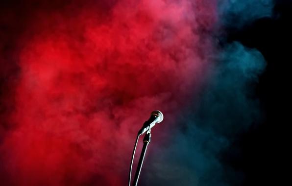 Картинка дым, концерт, микрофон
