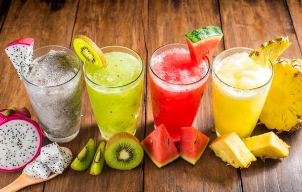 Картинка арбуз, киви, сок, стаканы, напиток, фрукты, ананас, смузи