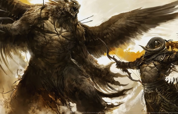 Картинка монстр, воин, лук, битва, стрелы, крылатый, колчан, огромный