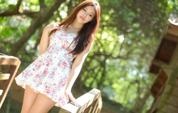 Картинка лето, девушка, лицо, настроение, волосы, платье, азиатка
