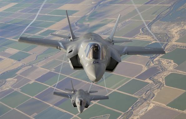 Картинка полет, земля, истребители, бомбардировщики, Lightning II, F-35B