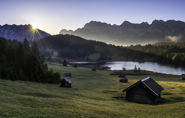 Картинка горы, дома, утро, долина