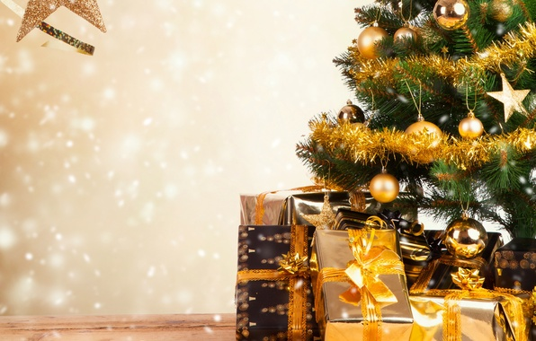 Картинка праздник, обои, игрушки, елка, подарки, Новый год, мишура, коробки, New Year