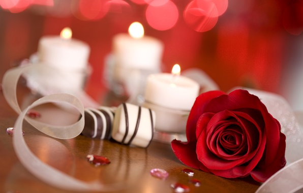Картинка блики, огонь, роза, свечи, конфеты, красная, ленточки, боке