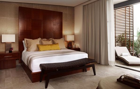 Картинка кровать, окно, тумбочка, подушка, балкон, спальня