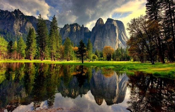 Картинка вода, деревья, горы, природа, озеро, отражение, Калифорния, USA, США, Йосемити, Yosemite National Park