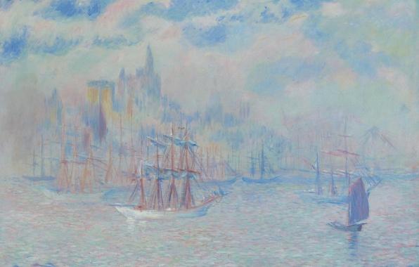 Картинка корабль, картина, Нью-Йорк, морской пейзаж, Theodore Earl Butler, Ships in the New York Harbor