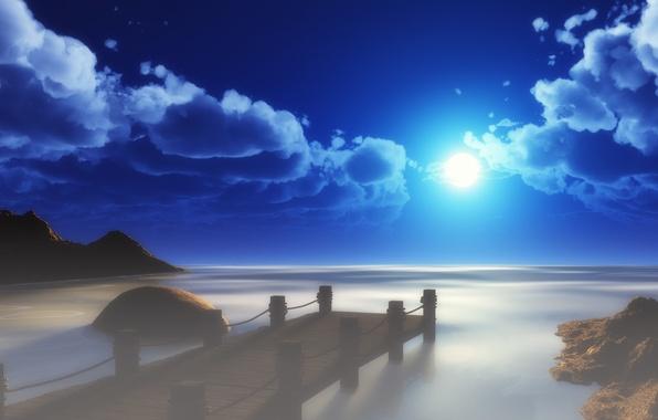 Картинка море, небо, солнце, облака, пейзаж, мост, арт