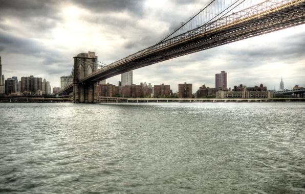 Картинка вода, мост, city, город, Нью Йорк, bridge, Brooklyn, New York, Manhattan, манхеттенн