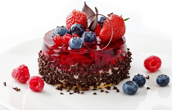 Картинка ягоды, малина, еда, шоколад, черника, клубника, тарелка, сладости, пирожное, крем, десерт, желе, голубика