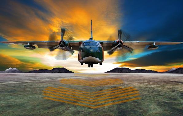Картинка небо, облака, полет, самолет, полоса, размытость, горизонт, аэродром, airplane, боке, двухмоторный, средний, транспортный, wallpaper., beautiful …