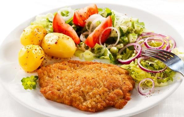 Картинка еда, курица, лук, тарелка, вилка, помидоры, картошка, продукты, запеченная, мясные