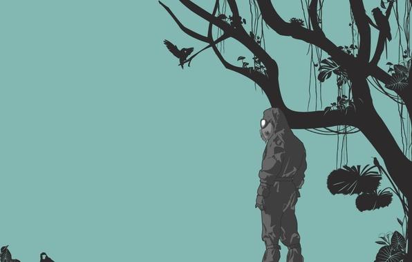 Картинка ветки, минимализм, заражение, Вектор, обезьяна