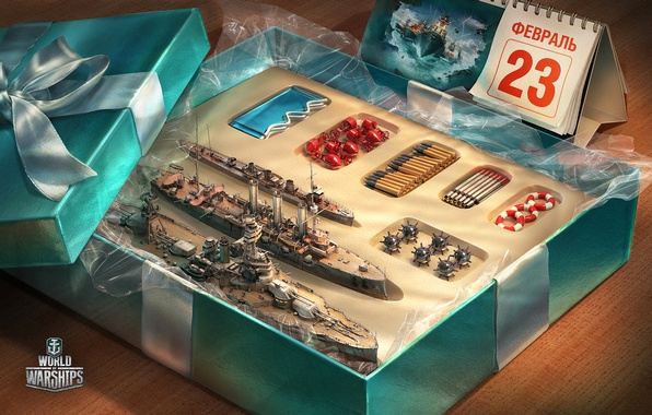 Фото обои игра, toy, коробка, подарок, 23 февраля, gift, World Of Warship
