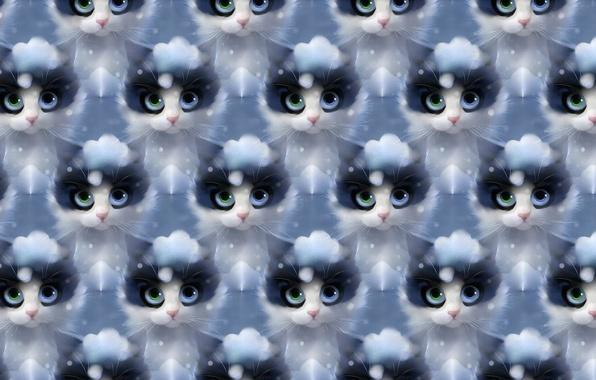 Картинка зима, кошка, снег, текстура, арт, apofiss
