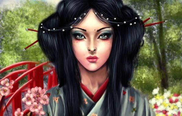 Картинка взгляд, деревья, лицо, волосы, макияж, арт, гейша, кимоно, мостик, asa mitsuko