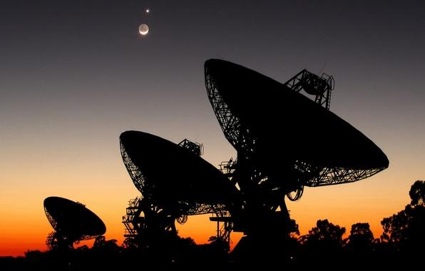 Картинка поиск, Луна, Венера, радиотелескоп, Авcтралия, SETI, параболическая антенна